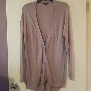 Lavender long boyfriend cardigan H by Halston M